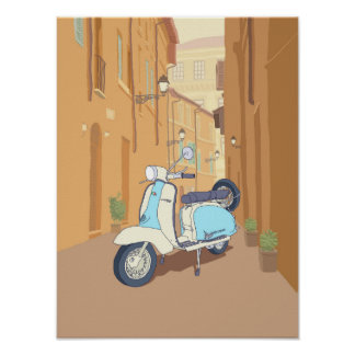 Scooter parked on italian street. poster
