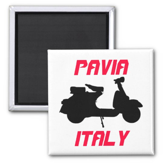 Scooter, Pavia, Italy Square Magnet