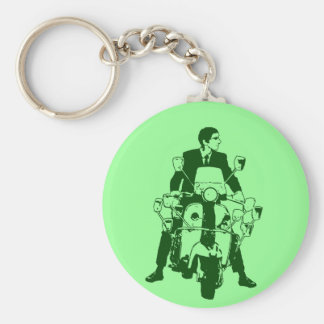 Scooter Rider 2010 green Basic Round Button Key Ring