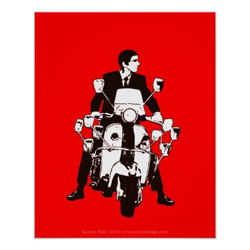 Scooter Rider 2010 Red Background Poster
