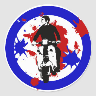 Scooter Rider on Paint splash mod target art Classic Round Sticker