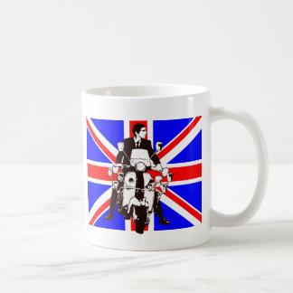 Scooter Rider with Union Jack background Basic White Mug