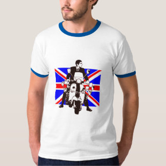 Scooter Rider with Union Jack background T-Shirt
