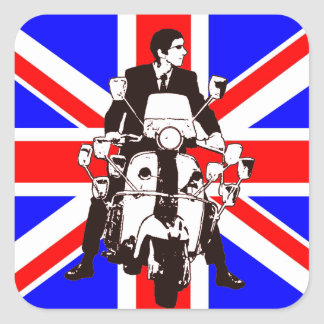 Scooter Rider with Union Jack square stickers