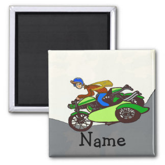 Scooter, sidecar, add name square magnet