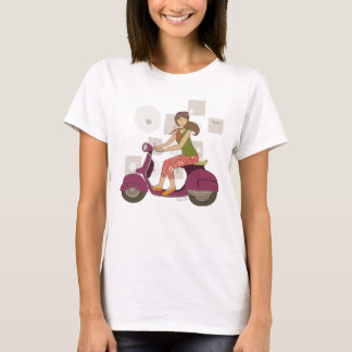 Scooter Sister Cute Girl on A Purple Motorbike T-Shirt