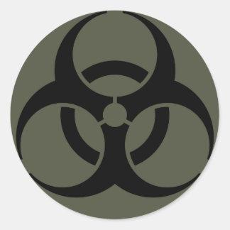 Scope Cap Sticker, Biohazard in Black Round Sticker