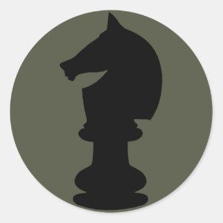 Scope Cap Sticker, Black Knight Chess Piece Round Sticker
