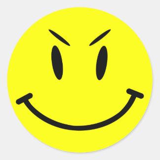 Scope Cap Sticker, Evil Smiley Face, Style 1 Round Sticker