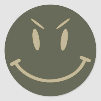 Scope Cap Sticker, Evil Smiley Face, Style 2 Classic Round Sticker