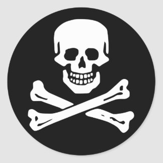 Scope Cap Sticker, Jolly Roger - Style 6 Classic Round Sticker