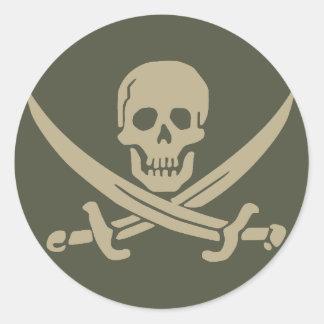 Scope Cap Sticker, Jolly Roger - Style 8 Round Sticker