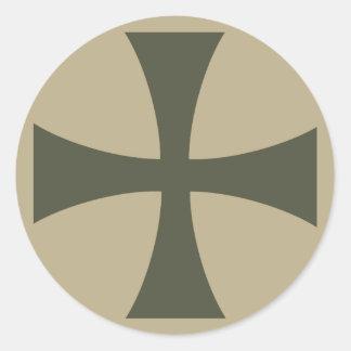 Scope Cap Sticker, Knights Templar Cross, Style 3 Round Sticker