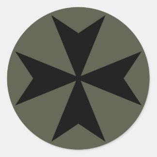 Scope Cap Sticker, Maltese Cross - Style 2 Round Sticker