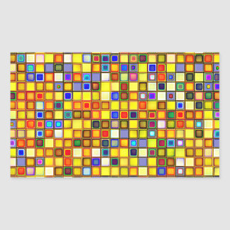 Scorching Yellow And Cool Blue Tiles Pattern Rectangular Stickers