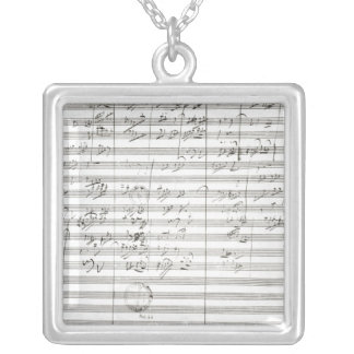 Score for the 3rd Movement of the 5th Symphony Silver Plated Necklace
