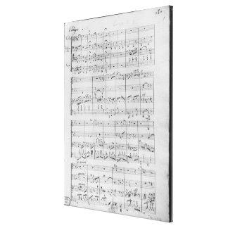 Score for trio for piano, violin and violoncello canvas print
