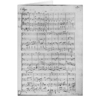 Score for trio for piano, violin and violoncello card