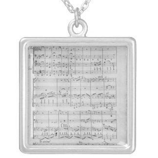 Score for trio for piano, violin and violoncello silver plated necklace