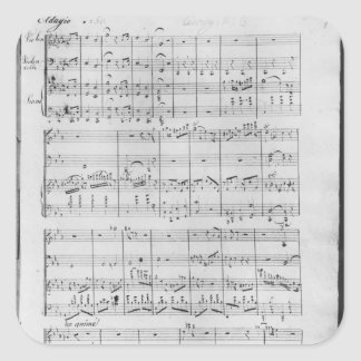 Score for trio for piano, violin and violoncello square sticker