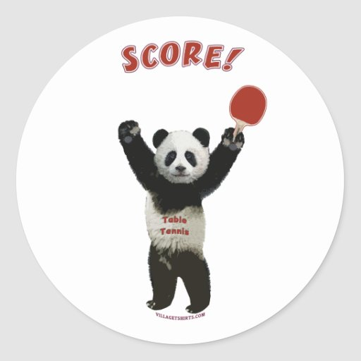 Score Panda Ping Pong Classic Round Sticker