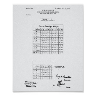 Score Sheet Bowling 1904 Patent Art White Paper Poster