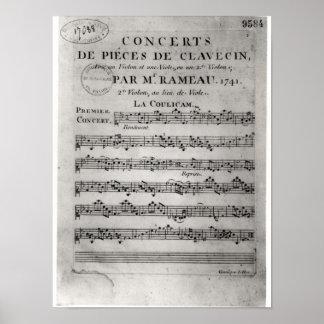 Score sheet for 'Concerts de Pieces de Posters