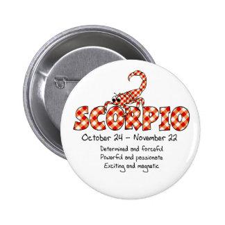 Scorpio 6 Cm Round Badge