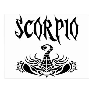 Scorpio black letters.png postcard