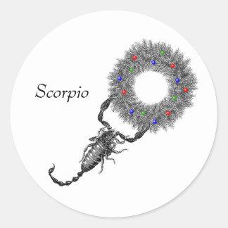 Scorpio Christmas Classic Round Sticker
