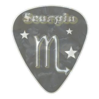 Scorpio chrome symbol pearl celluloid guitar pick