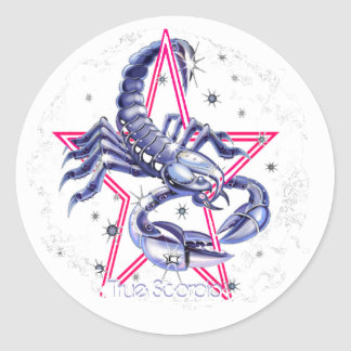 Scorpio Distressed Round Stickers