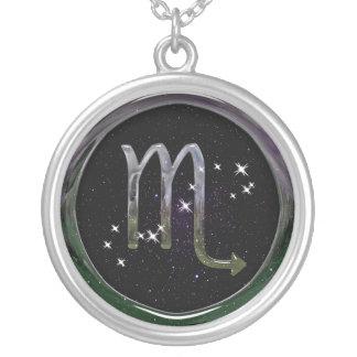 Scorpio Glass Round Pendant Necklace