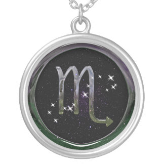 Scorpio Glass Silver Plated Necklace
