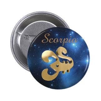 Scorpio golden sign 6 cm round badge