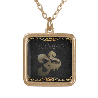 Scorpio golden sign gold plated necklace