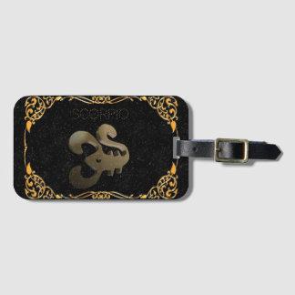 Scorpio golden sign luggage tag