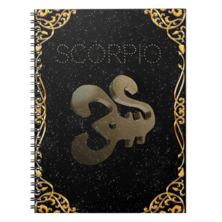 Scorpio golden sign notebook