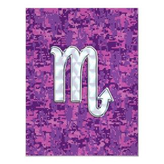 Scorpio Horoscope Sign on Pink Digital Camo Magnetic Invitations
