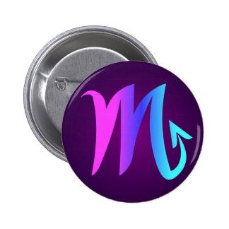 Scorpio Horoscope Sign Pink Blue Aqua Purple 6 Cm Round Badge