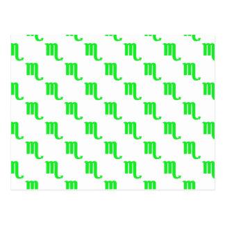 Scorpio Pattern Green Post Card