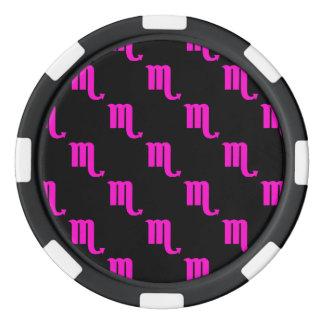 Scorpio Pattern Pink Poker Chips