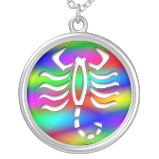 Scorpio Rainbow Color Scorpion Sterling Silver Silver Plated Necklace