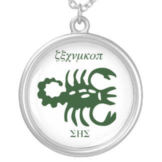 Scorpio,SHS,unique txt symbol Round Pendant Necklace