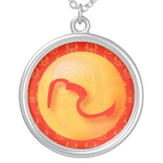 Scorpio sign red round pendant necklace