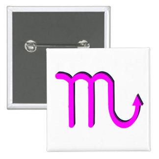 Scorpio Symbol Pink 15 Cm Square Badge