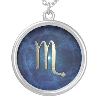 Scorpio symbol silver plated necklace