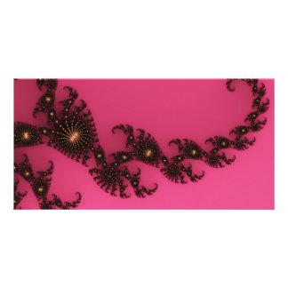 Scorpio Tail, Fractal Art - Pink Gold Black Photo Card