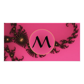 Scorpio Tail with Monogram - Pink Gold Black Photo Card