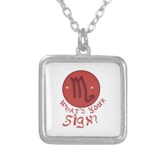 Scorpio Whats ur Sign ? Square Pendant Necklace